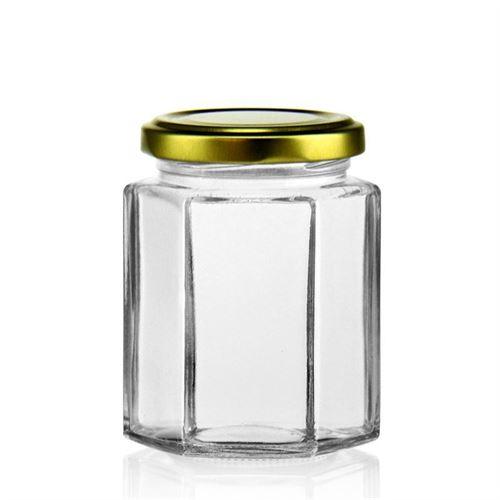191ml vasetto in vetro esagonale con tappo a vite Twist Off 58