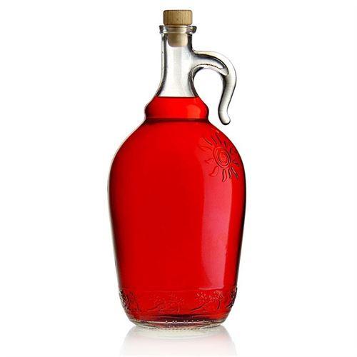 """2000ml Klarglasflasche """"Sunny"""" mit Henkel"""