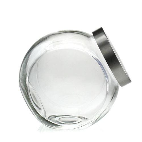 """2000ml glazen doos """"Happy"""" med zilveren schroefdeksel"""