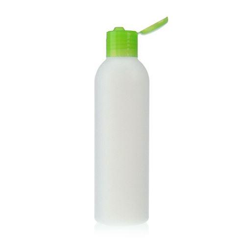 """200ml HDPE-flaske """"Tuffy"""" natur/grøn, med klaplåg"""