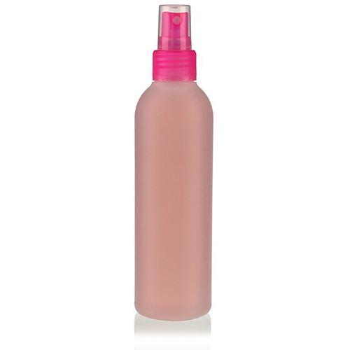 "200ml HDPE-flaske ""Tuffy"" natur/lyserød med sprayhoved"