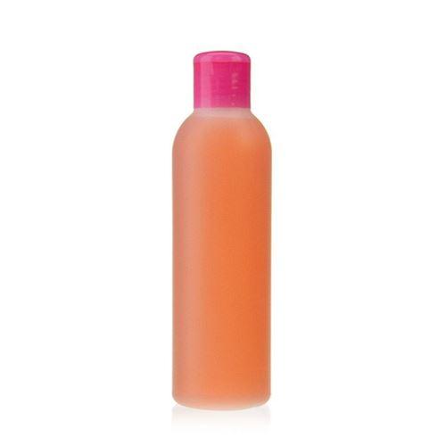 """200ml HDPE-flaske """"Tuffy"""" natur/lyserød, med klaplåg"""