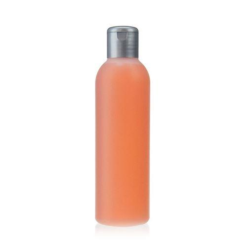 "200ml HDPE-flaske ""Tuffy"" natur/sølv, med klaplåg"