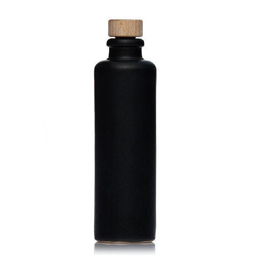 200ml Keramikflaske, munding med korkprop, matsort