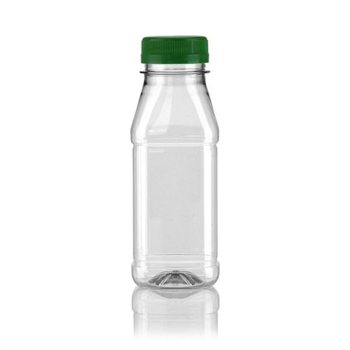 "250ml PET Weithalsflasche ""Milk and Juice Carree"" grün"