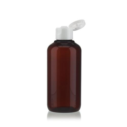 """200ml Bottiglia PET nel colore marrone """"Victor's Best"""" FlipTop, bianco"""