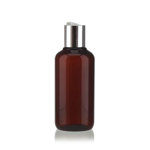 """200 ml brun PET-flaske """"Victor's Best"""", med sølvfarvet DiscTop"""