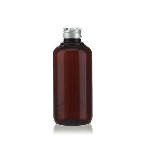 "200 ml brun PET-flaske ""Victor's Best"", med sølvfarvet skruelåg PP24"
