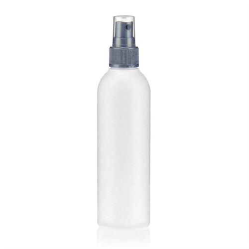 """200ml HDPE-flaske """"Tuffy"""" sølv med sprayhoved"""