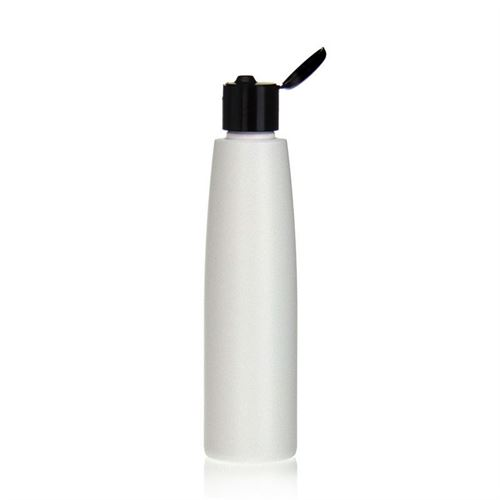 "200ml HDPE bottle ""Donald"" with black flip top closure"