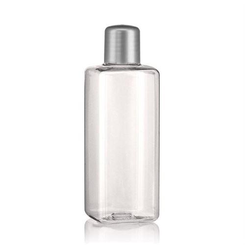 """200ml PET-flaske """"Karl"""" sølv med sprøjteindsats"""