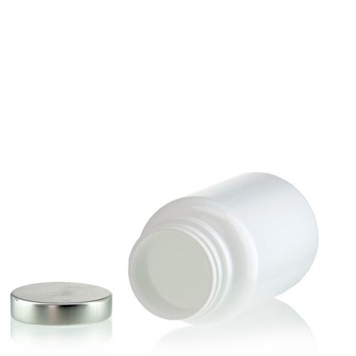 """200ml barattolo PET """"Packer"""" bianco con capsula in aluminio"""