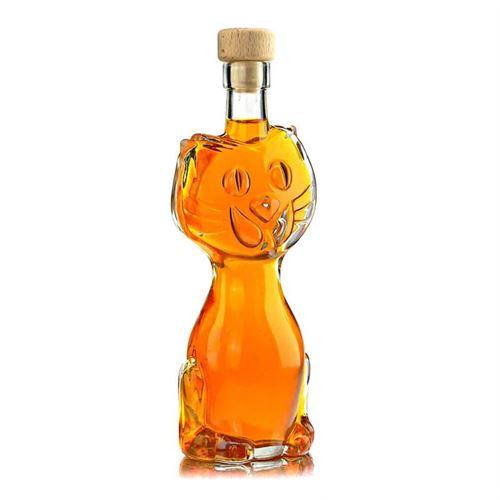 """200ml bouteille en verre clair """"chat"""""""