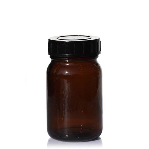 200ml bruine glazen pot met wijde hals