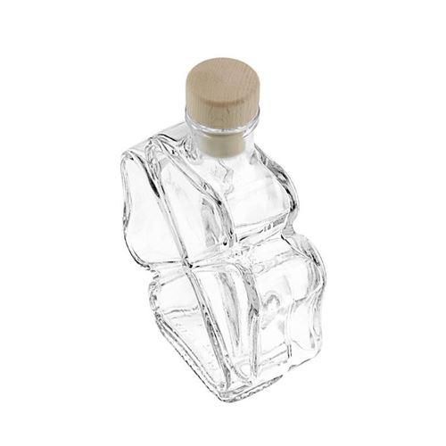 "200ml flaske i klart glas ""Kløverblad"""