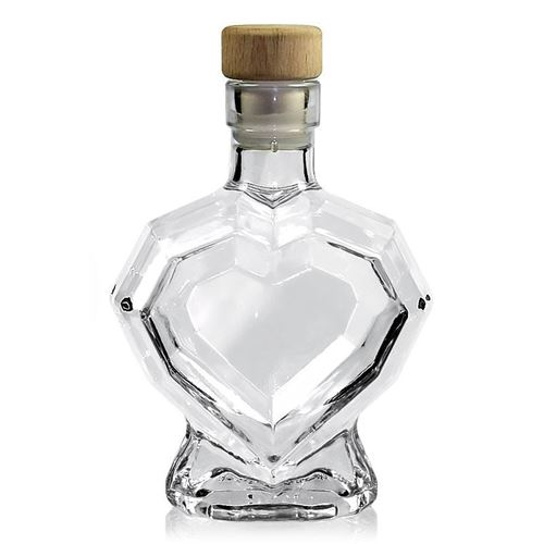 """200ml glazen fles clear """"diamant hart"""""""