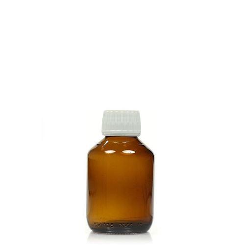 200ml bruin medecijn fles met originaliteit sluiting van 28mm