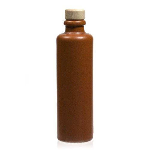 200ml stentøjskrukke, munding med korkprop, brun/natur