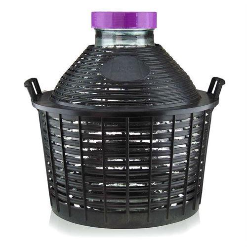20l ballonflaske bred hals med plastkurv