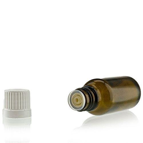 20ml bottiglia medica marrone con contagocce a caduta.