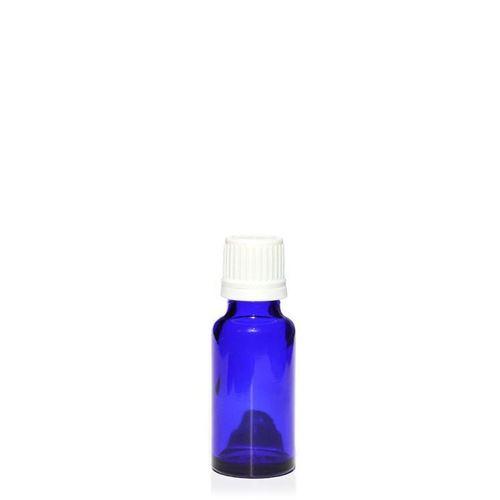 20ml flacon de médecine bleu avec bouchon d'originalité blanc