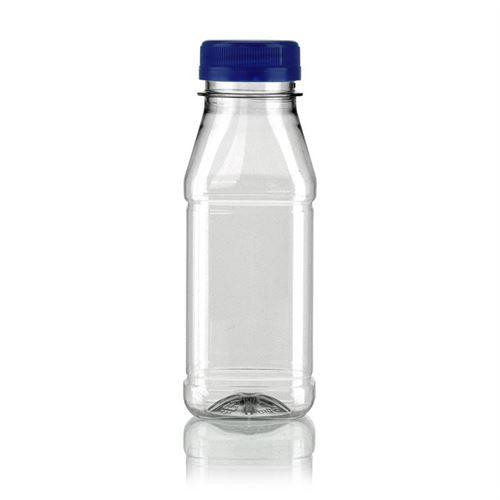 "250ml bouteille col large PET ""Milk and Juice Carree"" bleu"