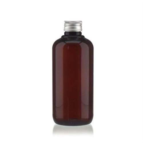 """250ml braune PET-Flasche """"Victor's Best"""" mit Schraubverschluss PP24, silber"""