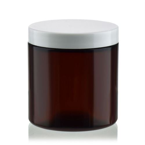 "250 ml brun PET-dåse ""Victor's Best"", med hvidt skruelåg"