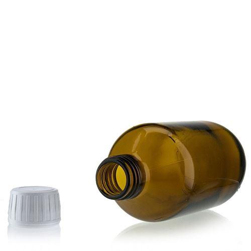 250ml bruin medecijn fles met originaliteit sluiting van 28mm