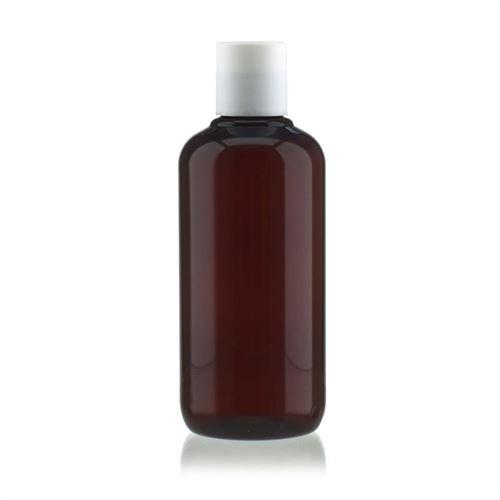 """250 ml brun PET-flaske """"Victor's Best"""", med hvidt DiscTop"""