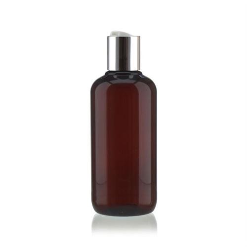 """250 ml brun PET-flaske """"Victor's Best"""", med sølvfarvet DiscTop"""