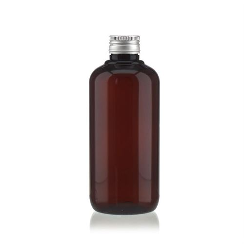 "250 ml brun PET-flaske ""Victor's Best"", med sølvfarvet skruelåg PP24"