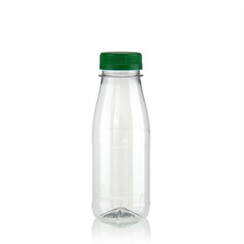 """250ml Bottiglia PET a collo largo """"Milk and Juice"""" verde"""