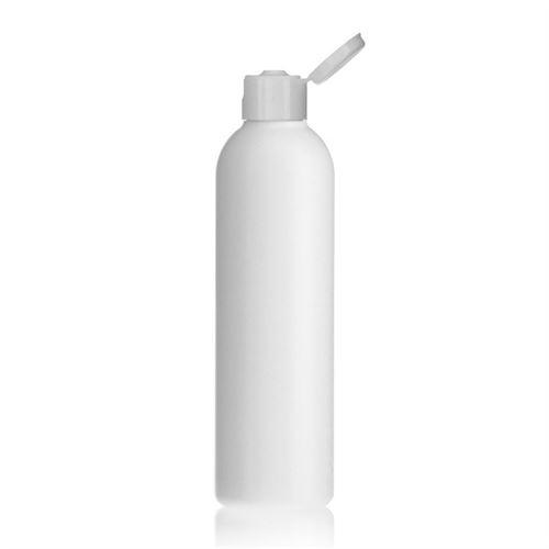 "250ml HDPE-flaske ""Tuffy"" hvid, med klaplåg"