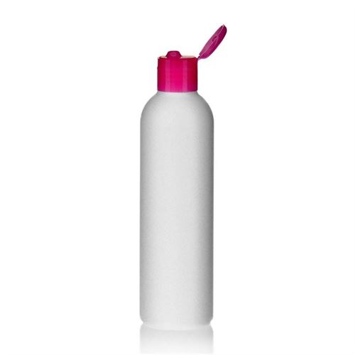 "250ml HDPE-flaske ""Tuffy"" lyserød, med klaplåg"