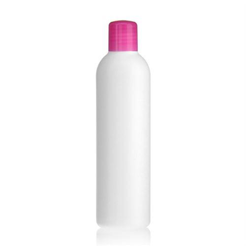 """250ml HDPE-flaske """"Tuffy"""" lyserød med sprøjteindsats"""