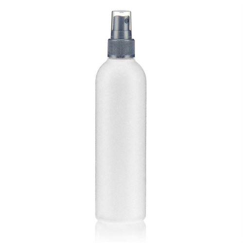 """250ml HDPE-flaske """"Tuffy"""" sølv med sprayhoved"""