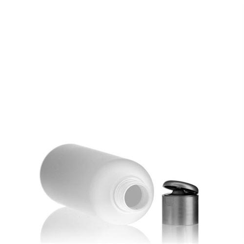"250ml HDPE-flaske ""Tuffy"" sølv, med klaplåg"