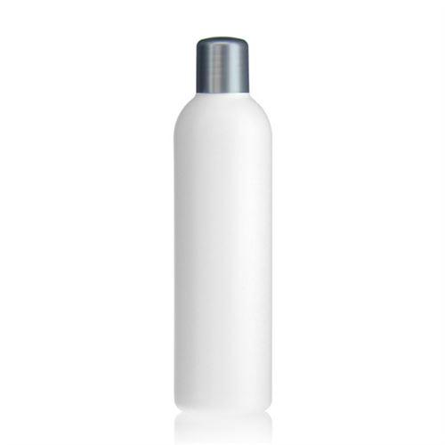 """250ml HDPE-flaske """"Tuffy"""" sølv med sprøjteindsats"""