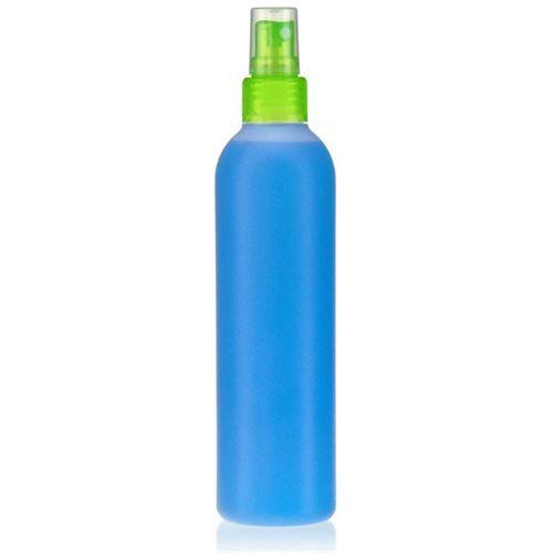 "250ml HDPE-flaske ""Tuffy"" natur/grøn med sprayhoved"
