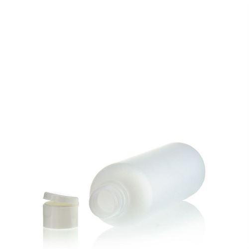 "250ml HDPE-flaske ""Tuffy"" natur/hvid, med klaplåg"