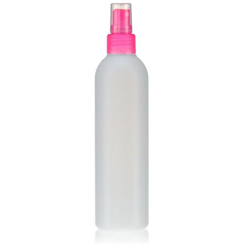 "250ml HDPE-flaske ""Tuffy"" natur/lyserød med sprayhoved"