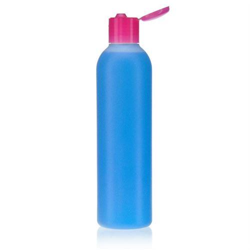 """250ml HDPE-flaske """"Tuffy"""" natur/lyserød, med klaplåg"""