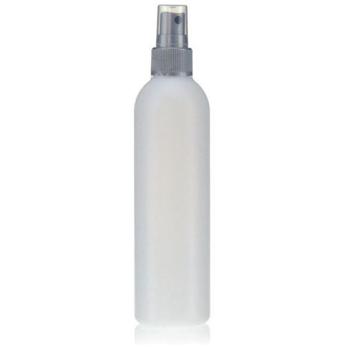 "250ml HDPE-flaske ""Tuffy"" natur/solv med sprayhoved"