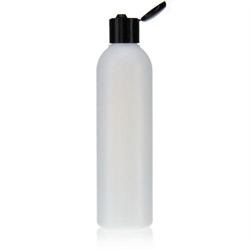 "250ml HDPE-flaske ""Tuffy"" natur/sort, med klaplåg"