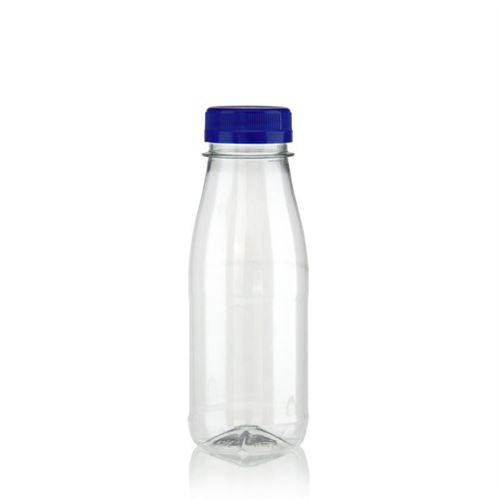 """250ml PET flaske med bred hals """"Milk and Juice"""" blå"""