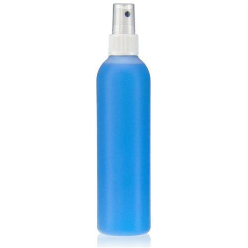 """250ml bottiglia HDPE """"Tuffy"""" natura/bianco con erogatore spray"""