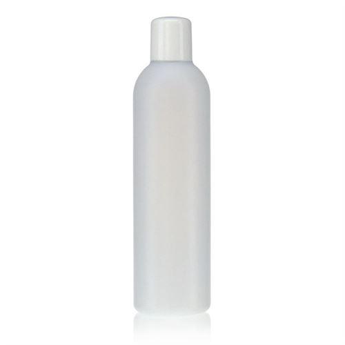 "250ml bouteille HDPE ""Tuffy"" nature/blanc avec doseur"