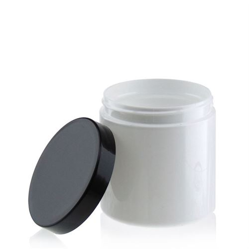 "250ml blanc pot PET ""Bella Mia"" bouchon fileté noir"