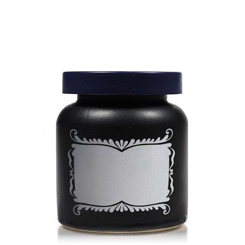 270ml pot en céramique noir-mat avec étiquette